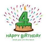 Fourth birthday illustration Royalty Free Stock Photography