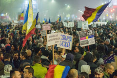The fourth day of protest against coruption and Romanian Government Stock Images