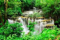 Fourth floor of Huay Mae Kamin Waterfall Royalty Free Stock Images