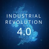 Fourth industrial revolution on blockchain polygon Great britain map. Royalty Free Stock Photography