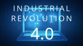 Fourth industrial revolution on hud banner with laptop. Stock Image