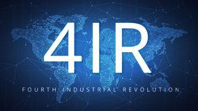 Fourth industrial revolution on hud banner. Fourth industrial revolution on futuristic hud background with world map and blockchain polygon peer to peer network stock illustration