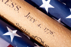 Fourth of July. Parchment Document witdh American Flag stock photography