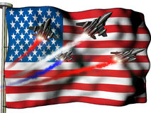 Fourth of July. Four fighter planes flying over an American flag, commemorating Independence day Royalty Free Stock Photography