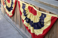 Fourth of July. Patriotic red white and blue bunting display for Fourth of July celebration. Ennis, Montana royalty free stock photos
