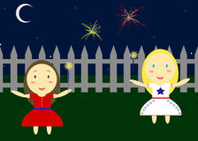 Fourth Of July. Illustration Of Two Children Playing With Sparklers Outside Royalty Free Stock Image
