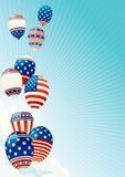 Fourth of july. Vector illustration of many Patriotic  balloons on blue sky with clouds,  sun and sun beams Royalty Free Stock Photography