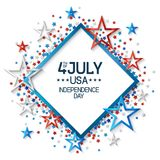 Fourth of July Abstract Background. Fourth of july background with frame, on white background and, stars in american flag colors, design for greeting cards and Stock Photos