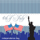 Fourth of July. Abstract colorful background with the Statue of Liberty, two american flags and the text Fourth of July written with handwritten letters vector illustration