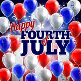 Fourth of July American Flag Balloons Background. A Fourth of July American flag background with red,white and blue balloons Stock Image