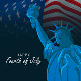 Fourth of July, American Independence Day celebration concept. Happy Fourth of July, American Independence Day celebration with Statue of Liberty Stock Image