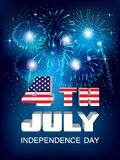 Fourth of July. American Independence Day celebration. Fourth of July Poster with shiny fireworks and national flag Royalty Free Stock Photography