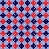 Fourth of July Argyle. Background illustration of red, white and blue argyle pattern with stars Royalty Free Stock Photos