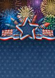 Fourth of July Background with Fireworks. Patriotic american background for fourth of july, with american flags and star, with rockets and fireworks, EPS 10 Stock Image