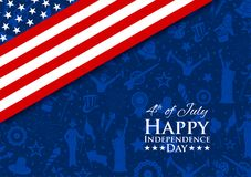 Fourth of July background for Happy Independence Day of America. Illustration of American Flag Background for Fourth of July background for Happy Independence Stock Photos