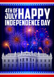 Fourth of July background for Happy Independence Day of America. Illustration of firework celebration for Fourth of July background for Happy Independence Day of Stock Image