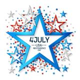 Fourth of July Background with Star. Shape frame, on white background and, stars in american flag colors, design for greeting cards and posters. EPS 10 contains Royalty Free Stock Photos