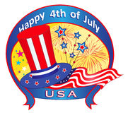 Fourth of July Banner. Festive 4th of July banner with Uncle Sam top hat, flag, fireworks and stars. Eps10 Royalty Free Stock Images