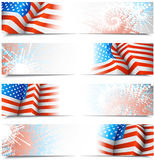 Fourth of July banners. With USA flags. All banners are layered Stock Photos