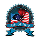 Fourth of July blue badge. Blue badge with the flag of the United States of America, a butterfly with wings colored in blue and red, and the text fourth of July royalty free illustration