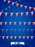 Fourth of July buntings. Decoration set of garlands for USA national holidays, events, banners, posters, web. 4th of. July vector illustration Royalty Free Stock Images