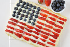 Fourth of July Cake. Fourth of July Independance Cake with fresh berries royalty free stock image