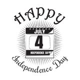 Fourth of July. Calendar with date - 4th of July. Independence Day icon. Happy Independence Day. Calendar icon isolated on white background. Vector royalty free illustration