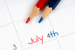 Fourth of july calendar Stock Photography
