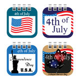 Fourth of July calendar sheets Royalty Free Stock Photo