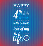 Fourth of July Card. Retro style 4th of July Card with red white and blue theme Royalty Free Stock Photo