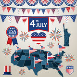 Fourth of july card with different signs and Royalty Free Stock Images