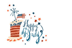 Fourth of July Cartoon Lettering with striped cake. Fourth of July Cartoon Vector Lettering with striped cake Stock Images