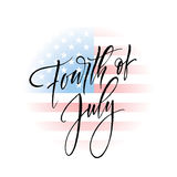 Fourth of July celebration banner, greeting card design. Happy independence day of United States of America hand. Lettering. USA freedom background. Vector Royalty Free Illustration