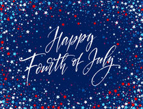 Fourth of July celebration banner, greeting card design. Happy independence day of United States of America hand Stock Image