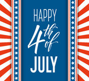 Fourth of July celebration banner, greeting card design. Happy independence day of United States of America hand Royalty Free Stock Images