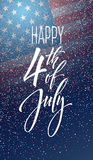 Fourth of July celebration banner, greeting card design. Happy independence day of United States of America hand Royalty Free Stock Image