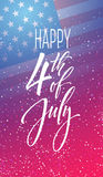 Fourth of July celebration banner, greeting card design. Happy independence day of United States of America hand Stock Photo