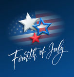 Fourth of July celebration banner, greeting card design. Happy independence day of United States of America hand Stock Images