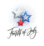 Fourth of July celebration banner, greeting card design. Happy independence day of United States of America hand Royalty Free Stock Photo