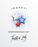 Fourth of July celebration banner, greeting card design. Happy independence day of United States of America hand Royalty Free Stock Photos