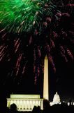 Fourth of July celebration with fireworks exploding over the Lincoln Memorial, Washington Monument and U.S. Capitol, Washington D. Stock Photos