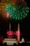 Fourth of July celebration with fireworks exploding over the Lincoln Memorial, Washington Monument and U.S. Capitol, Washington D. Stock Photo