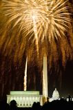 Fourth of July celebration with fireworks exploding over the Lincoln Memorial, Washington Monument and U.S. Capitol, Washington D. Stock Images