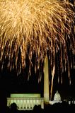 Fourth of July celebration with fireworks exploding over the Lincoln Memorial, Washington Monument and U.S. Capitol, Washington D. Stock Image