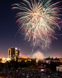 Fourth of July Celebration Fireworks over Downtown San Jose Stock Images