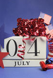 Fourth of July celebration, save the date white block calendar - vertical. Royalty Free Stock Photo