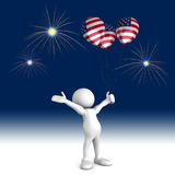 Fourth of July Celebrations. Three dimensional render of a cartoon human figure, holding balloons with the american flag on them while cheering at the fireworks Stock Photos