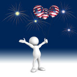 Fourth of July Celebrations. Three dimensional render of a cartoon human figure, holding balloons with USA on them while cheering at the fireworks. 4th of July Stock Photography