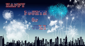 Fourth of July. A city sky full of fireworks for Independence Day Royalty Free Stock Image