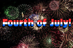 Fourth of July with Colorful Fireworks. Fourth of July words with colorful fireworks display in the background Stock Image